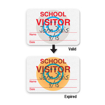 School visitor badge with blue smiley, changes color on expiring