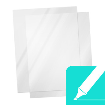 "Transparency film w/ teal ""write on"" icon"