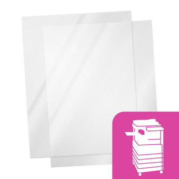 Transparency film sheets with pink copier icon