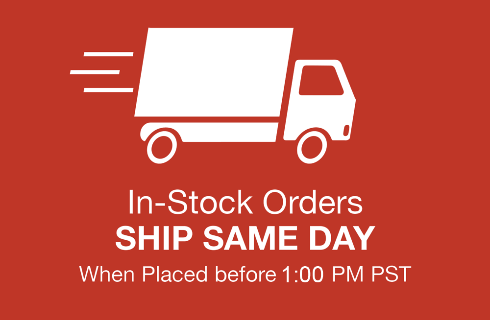 In stock orders ship same day if placed by 2:30pm PST