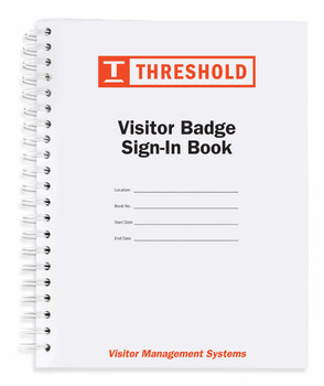 Black and white visitor sign in book with orange logo - small