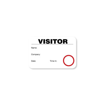 Black and white visitor badge with red circle