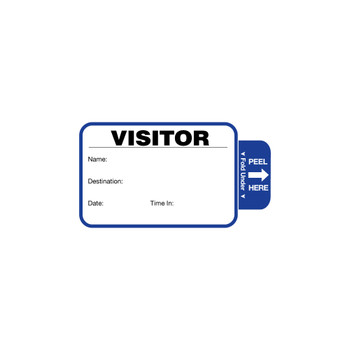 Blue and white visitor badge with peel here tab