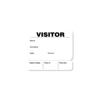 Black and white visitor badge