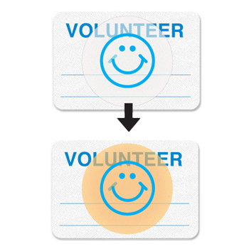 two blue and white visitor passes with smiley faces